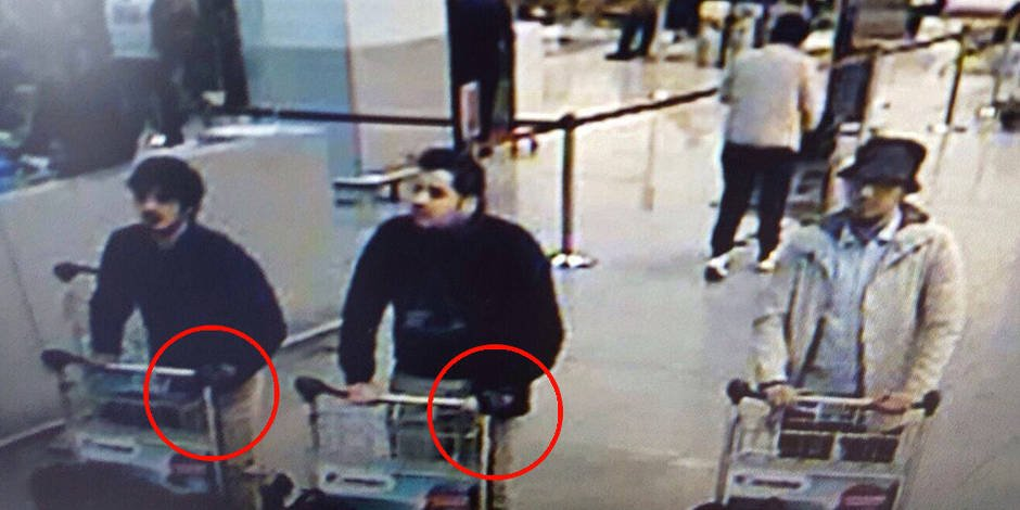 A picture taken off CCTV purporting to show suspects in the Brussels airport attack on March 22, 2016. (Twitter)