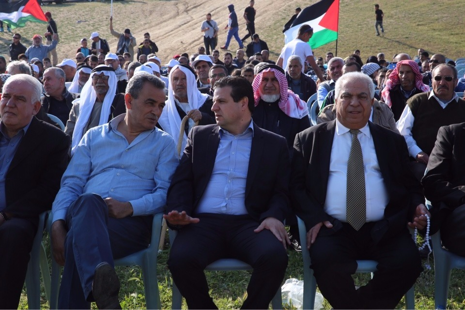 Lawmakers for the Joint (Arab) List and leaders of the Israeli Arab community participate in a Land Day demonstration in the Bedouin village of Umm al-Hiran on Wednesday, March 30, 2016 (courtesy Joint List)