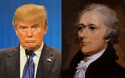 Republican presidential candidate Donald Trump (L) on March 3, 2016 (AFP/Geoff Robins) and founding father Alexander Hamilton (Public Domain)
