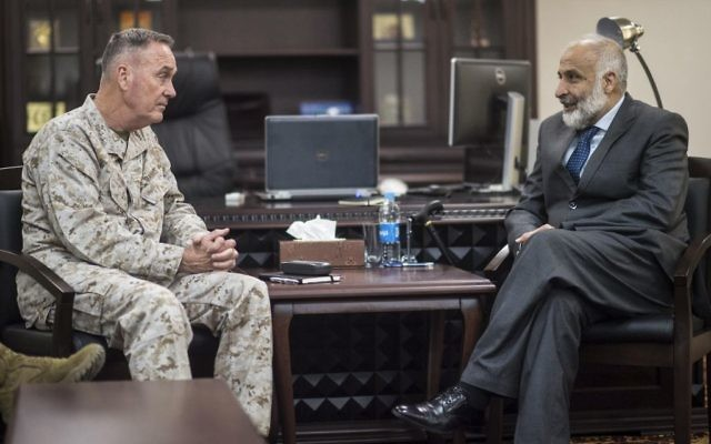 Joseph F. Dunford Jr., chairman of the Joint Chiefs of Staff, and Afghan Defense Minister Masoom Stanekzai meet at the Defense Ministry in Kabul, Afghanistan on March 2, 2016. D. Myles Cullen/Department of Defense)