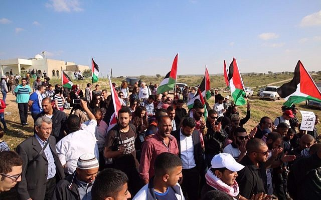 Protesters attend a Land Day demonstration in the Bedouin village of Umm al-Hiran on Wednesday, March 30, 2016. (Courtesy Joint List)