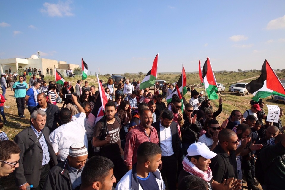 Protesters attenc a Land Day demonstration in the Bedouin village of Umm al-Hiran on Wednesday, March 30, 2016 (courtesy Joint List)