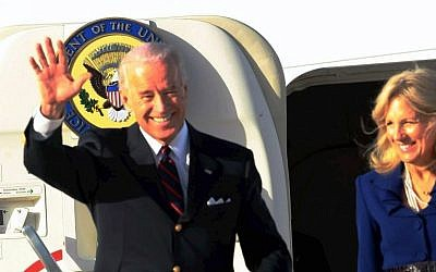 US Vice President Joe Biden upon his arrival at Ben Gurion airport, March 8, 2010. (Pool/Yariv Katz Flash90)