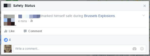 A Facebook alert about the Brussels explosions, March 22, 2016. (Screenshot)