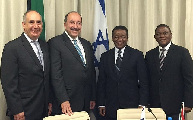 Foreign Ministry director-general Dore Gold, second from left, with his South African counterpart Jerry Matjila. To his left, Israeli Ambassador to South Africa Arthur Lenk. On the right, South African Ambassador to Israel Sisa Ngombane (Israel MFA)