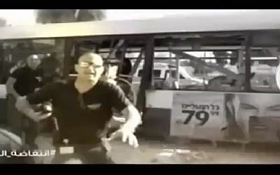 Footage of a terror attack in Israel aired by Hamas terrorists who hacked into an Israeli TV show on Friday, March 11, 2016 (screen capture: Channel 2)