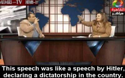Egyptian TV host Azza Elhannawy compares a speech by the country's president Abdel Fattah el Sissy to a speech by Hitler, during a show aired on Sunday, March 6 2016. (Screen capture MEMRI)