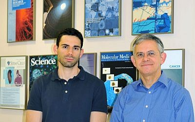 (L to R) Ido Sagi, the PhD student who led the research, and Prof. Nissim Benvenisty, principal co-author of the study and Director of the Azrieli Center for Stem Cells and Genetic Research at the Hebrew University of Jerusalem. (Credit: Hebrew University.)