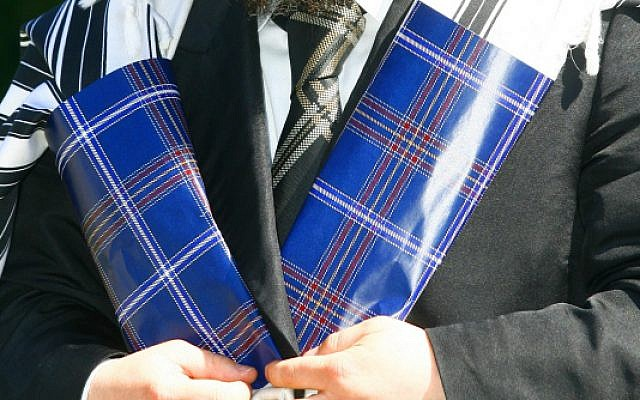 The kosher tartan prayer shawl created by Rabbi Mendel Jacobs. (JewishTartan.com via JTA)