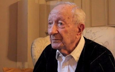 Holocaust survivor and tailor Joseph Sher speaking in 2011. Sher died in New Orleans on March 24, 2016, at the age of 100. (screen capture: Vimeo)