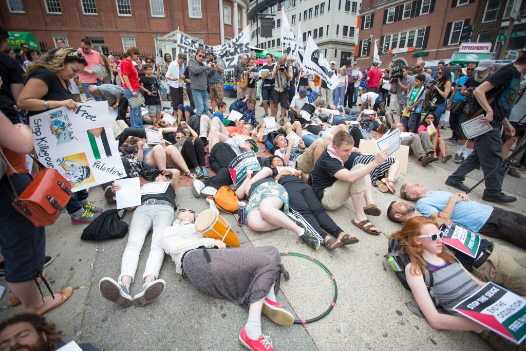 A July 14, 2014 anti-Israel 'die-in' staged near the Massachusetts State House in Boston, with participation from local Students for Justice in Palestine chapters (Elan Kawesch/The Times of Israel)
