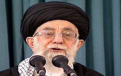 Iran's supreme leader Ayatollah Ali Khamenei makes a televised speech from Mashhad to mark the Iranian new year, on March 20, 2016 (screen capture: Press TV)