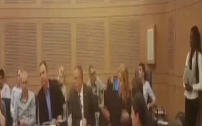 Zionist Union MKs (Erel Margalit (3rd left) and Tzipi Livni (5th left) argue during a faction meeting at the Knesset on March 7, 2016 (screen capture: Channel 2)