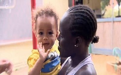 Lonah Chemtai and her Israeli-born son, Roy (screen capture: Channel 10)