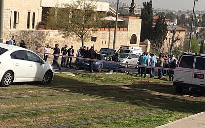Police at the scene of a terror attack next to the Old City of Jerusalem, Tuesday March 9, 2015 (Israel Police)