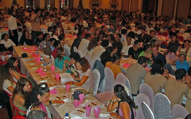 The main hall of the Passover seder of Kathmandu at the Nepalese capital's Radisson Hotel, April 6, 2012. (Courtesy Eyal Keren)