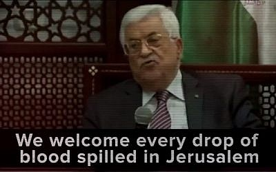 A screen capture from a clip played by Prime Minister Benjamin Netanyahu during his March 22, 2016 AIPAC speech showing Palestinian Authority President Mahmoud Abbas (screen capture: JLTV/YouTube)