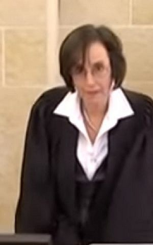 Judge Dita Proginin oversees the lawsuit brought by Menny Naftali against Sara Netanyahu in early 2016. (screen capture: YouTube)