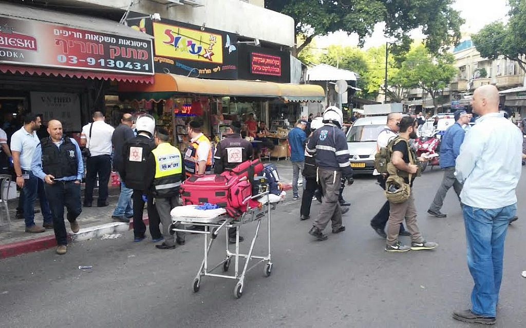 The scene of a stabbing in Petah Tikvah on Tuesday, March 8, 2016. (United Hatzalah)