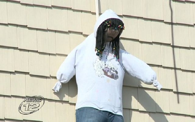 A Purim effigy that appeared to be of an African-American man drew widespread condemnation in Spring Valley, New York, March 24, 2016. (Screen capture: News 12)