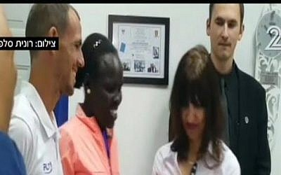 Lonah Chemtai, a runner from Kenya, received Israeli citizenship on March 17, 2016 (screen capture: Channel 2)