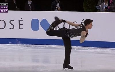 Daniel Samohin skates at the World Junior Figure Skating Championships in Debrecen, Hungary on March 16, 2016. (Screen capture YouTube)