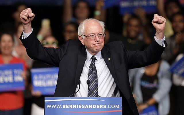 Democratic presidential candidate, Sen. Bernie Sanders, I-Vt. acknowledges his supporters on arrival at a campaign rally, March 8, 2016, Miami. (AP/Alan Diaz)