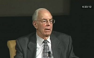 Former US diplomat Harold Saunders, who helped broker Israel-Egypt peace, in a 2012 panel discussion aired on C-SPAN. (Screen capture/C-SPAN)