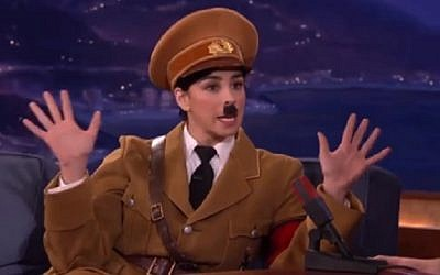 Jewish American comedian Sarah Silverman appears on Conan O'Brien's talk show dressed as Adolf Hitler, on March 10 2016 (screen capture: YouTube)