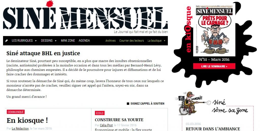 """A screen capture of Sine's website, where the lead story is """"Sine takes BHL to court,"""" referring to Bernard Henri-Levy by his acronym. (Screen capture sinemensuel.com)"""