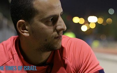 Murad Halessi trains for the Jerusalem marathon on March 8, 2016. (Luke Tress/Times of Israel)