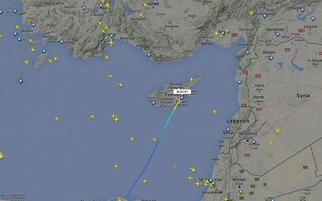A screengrab from FlightRadar24.com showing the path of the hijacked EgyptAir flight, on March 29, 2016. (Screen capture)