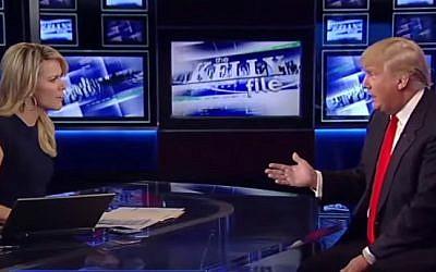 Fox News anchor Megyn Kelly and billionaire businessman Donald Trump during a 2015 interview (YouTube screencap)