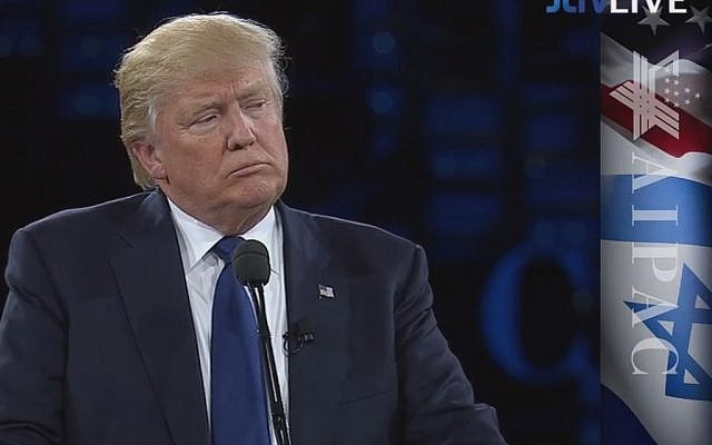 Donald Trump speaking at the AIPAC policy conference in Washington on March 21, 2016. (Screen capture: AIPAC/JLTV)