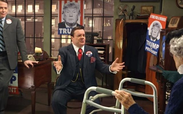 Matthew Broderick, left, and Nathan Lane in a parody of The Producers on Jimmy Kimmel Live, aired on February 20, 2016. (Screen capture: YouTube)
