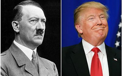 Donald Trump has drawn several comparisons to Adolf Hitler in recent days. (Wikimedia Commons, Tom Pennington/Getty Images via JTA)