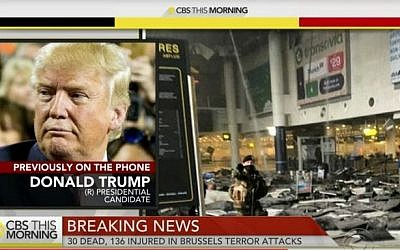 An image of GOP front-runner Donald Trump's telephone interview on 'CBS This Morning' on March 21, 2016. (screen capture: YouTube)