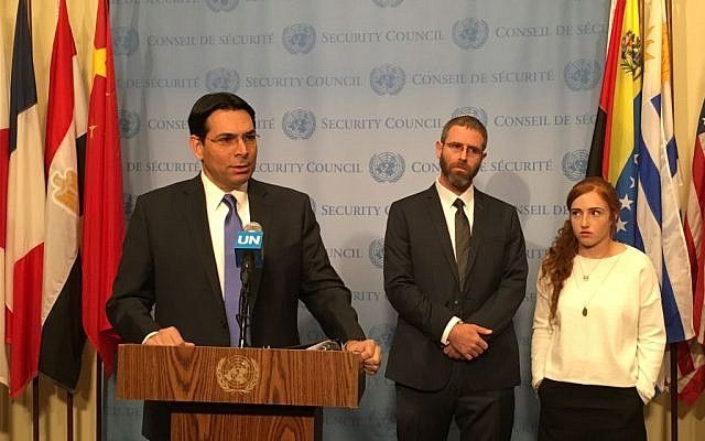Israel's Ambassador to the UN Danny Danon, with Nathan Meir, whose wife Dafna was murdered by a Palestinian terrorist in January, and their daughter Renana, April 18, 2016. (Courtesy)