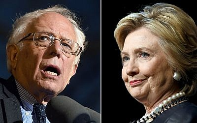 This combination of file photos shows Democratic presidential hopefuls Bernie Sanders (left) on March 31, 2016, and Hillary Clinton on March 30, 2016. (AFP/Photo Desk)
