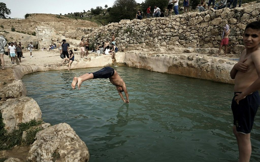 A Palestinian youth dives in a natural spring pool near the West Bank city of Beit Jala, in southern Jerusalem, as temperatures hit a high of 32ºC on April 9, 2016 (AFP PHOTO / THOMAS COEX)
