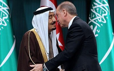 Turkish President Recep Tayyip Erdogan, right, shakes hands with King Salman of Saudi Arabia after the Saudi monarch received Turkey's highest state medal during a ceremony at the presidential complex in Ankara on April 12, 2016. AFP  / ADEM ALTAN)
