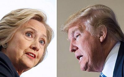 This file photo combination shows Democratic presidential candidate Hillary Clinton on April 4, 2016 and Republican challenger Donald Trump on February 16, 2016. (AFP)