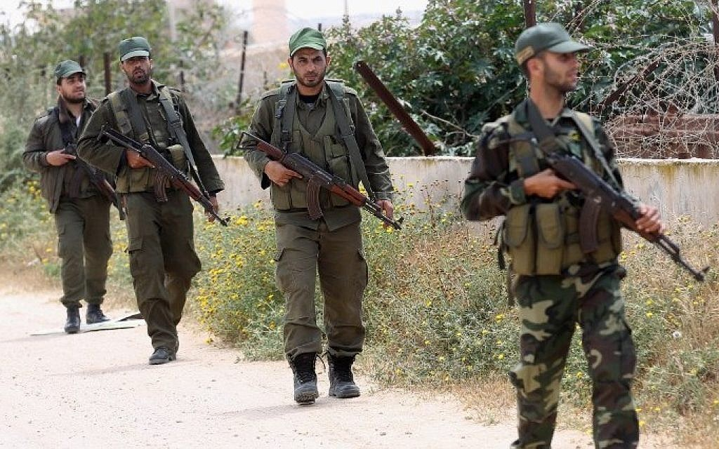 Hamas security forces patrol along the Gaza-Egypt border, April 14, 2016 in Rafah, in the southern Gaza Strip. (Said Khatib/AFP)
