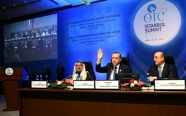 Turkish President Recep Tayyip Erdogan (center) waves during the end of the closing session of the 13th Organization of Islamic Cooperation (OIC) Summit in Istanbul, Turkey, on April 15, 2016. (AFP/Kayhan Ozer/Pool)