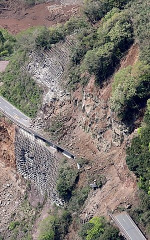 The aerial view shows a landslide after an earthquake in Minami-Aso, Kumamoto prefecture in Japan on April 16, 2016. (AFP PHOTO/JIJI PRESS/STR)