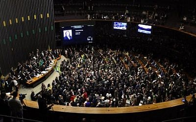 Brazil's lower house of Congress in Brasilia votes on April 17, 2016 on whether the impeachment of President Dilma Rousseff will move forward. (AFP PHOTO / EVARISTO SA)