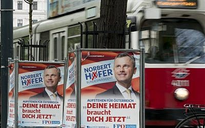 Election campaign posters of presidential candidate Norbert Hofer from the far-right Freedom Party of Austria (FPOE) is seen in Vienna, Austria on April 19, 2016. (AFP PHOTO / JOE KLAMAR)