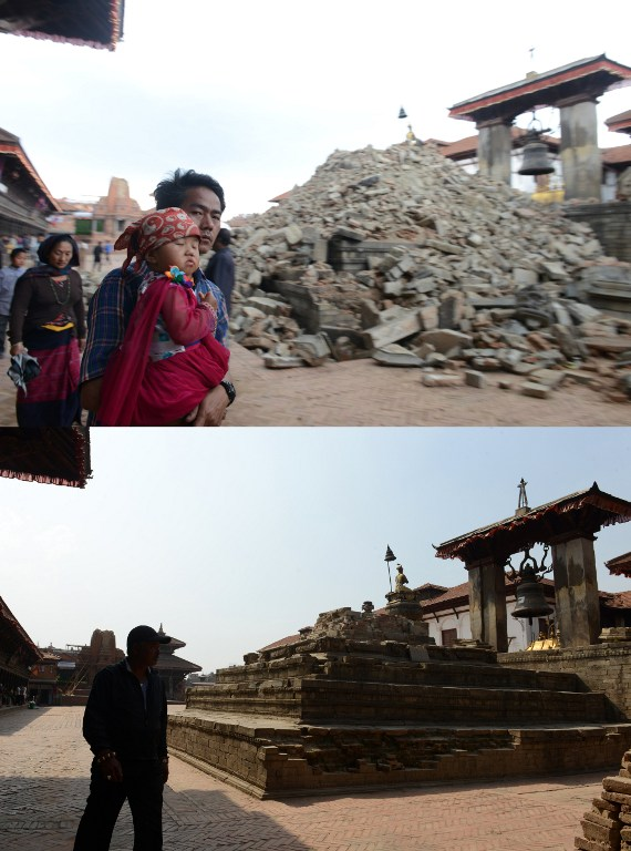 This combination of two photographs shows people walking through the ruins of Bhaktapur's Durbar Square, a UNESCO World Heritage Site, following an earthquake on the outskirts of Kathmandu on April 27, 2015 (top) and the same scene on April 23, 2016. (AFP PHOTO / PRAKASH MATHEMA)