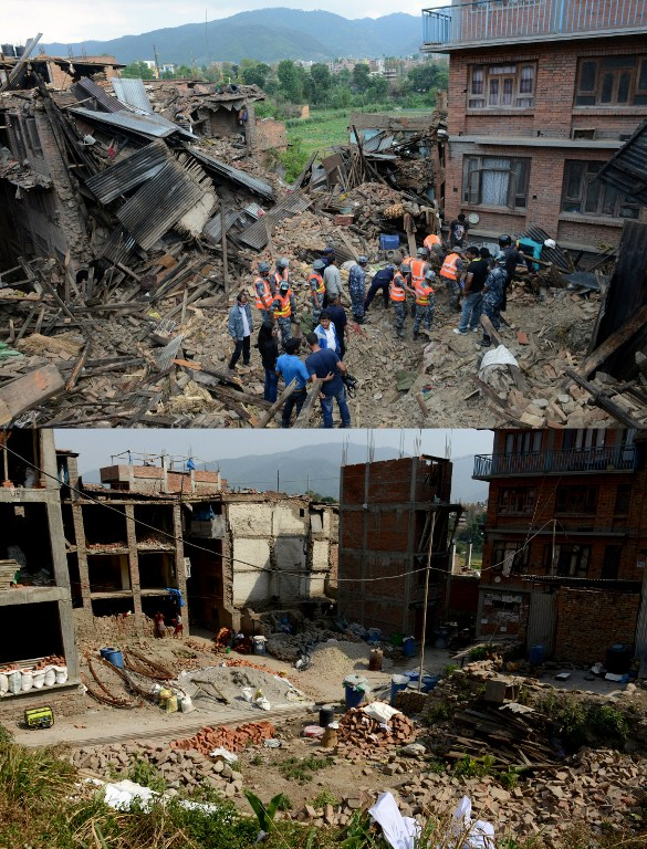 This combination of two photographs shows rescue personnel searching for survivors after an earthquake in Bhaktapur, on the outskirts of Kathmandu, on April 27, 2015 (top) and the same scene on April 22, 2016. (AFP PHOTO / PRAKASH MATHEMA)