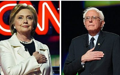 This file photo combination taken on April 14, 2016 shows US Democratic presidential candidates Hillary Clinton (L) and Bernie Sanders before the CNN Democratic Presidential Debate at the Brooklyn Navy Yard in New York. (AFP)